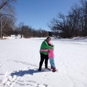 Standing on our frozen river in